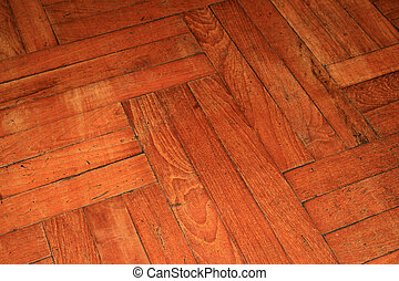 parquet wood floor - angled view of an old parquet wood...