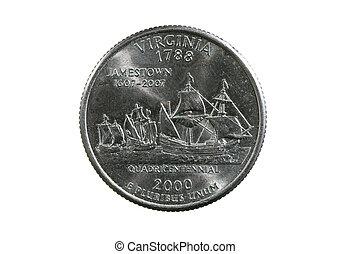 isolated Virginia quarter - Virginia state quarter coin...