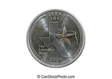 isolated Texas quarter - Texas state quarter coin isolated...