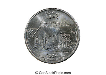 isolated Iowa quarter - Iowa state quarter coin isolated on...
