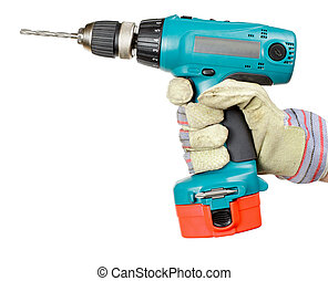 Cordless drill - Hand wearing protective glove holding...