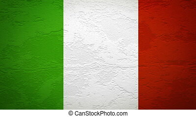 ITALY flag on wall explosion with fireball   alpha