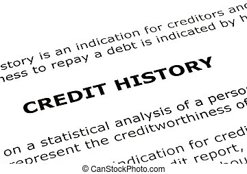 Credit History - 'CREDIT HISTORY' heading printed on a white...
