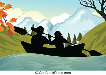 Kayaking people - A vector illustration of two people...