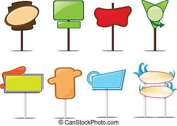 Blank sign posts - A vector illustration of a collection of...