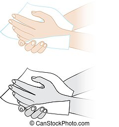 Hands with a napkin Illustration on white background