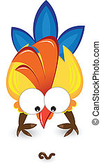 Cartoon cock with the worm. Illustration on white background