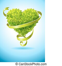 ecology concept with heart of green leaves and ribbon vector...