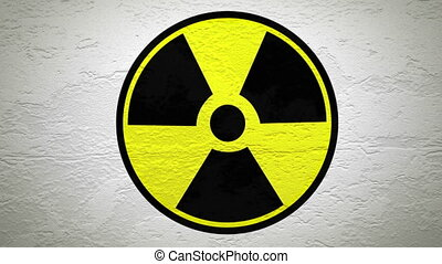 RADIOACTIVE sign on wall explosion with fireball alpha