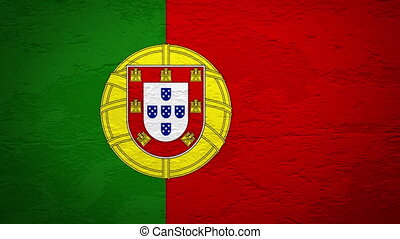 PORTUGAL flag on wall explosion with fireball   alpha