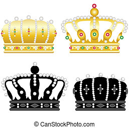Four crowns - Four beautiful crowns on a white background