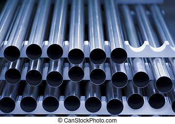 Stainless steel tubes - Stack of steel tubes on a factory...