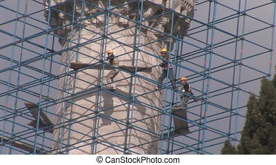minaret - workers repaired the minaret