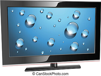 lcd plasma tv, waterdrops on screen, realistic vector...