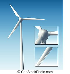 Vector wind turbine realistic illustration.