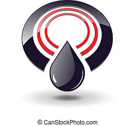 Logo 3D, circles red and black and oil drop