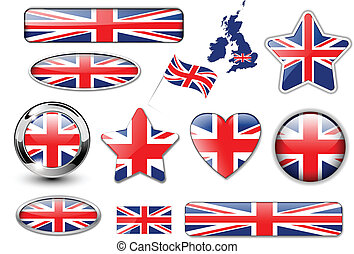 England, United Kingdom flag buttons great collection,...