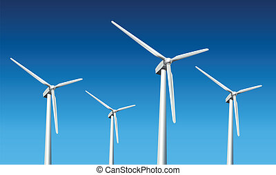 wind turbines - Wind turbines realistic vector illustration