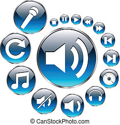 Music icons set, blue - Music symbols and icons blue vector...