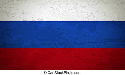 RUSSIA flag on wall explosion