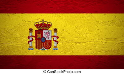 SPAIN flag on wall explosion with fireball   alpha