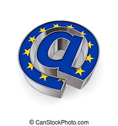 AT National - European Union - silver shiny chrome @-symbol...