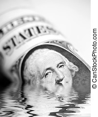 American crisis - Conceptual image showing US Dollar bill...