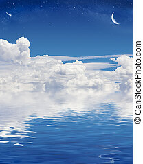Fantasy Cloudscape - A crescent moon and shooting star above...