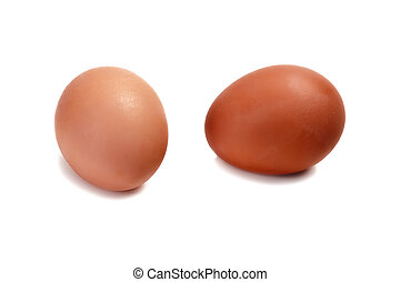 Two eggs isolated a white background