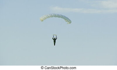 Skydiver flies against the sky and then landed.