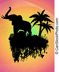 Elephant silhouette on abstract grunge background, vector...