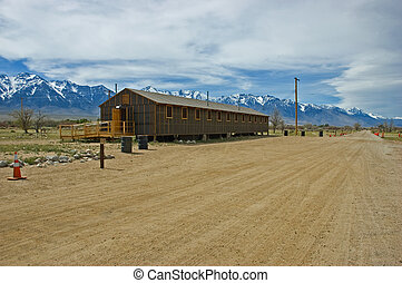 Manzanar barracks - Manzanar War Relocation Center...