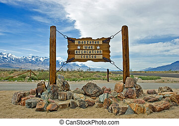 Manzanar War Relocation Center entrance sign, located in the...