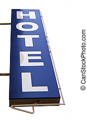 blue hotel sign in a white background