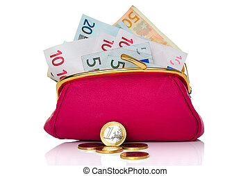 Purse full of money isolated on white - Photo of a purse...