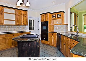 Modern Kitchen - A modern kitchen with rustic, glazed style...