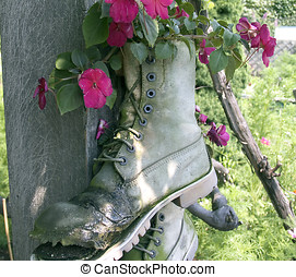 Flower Boot - Old boot used as a flower pot