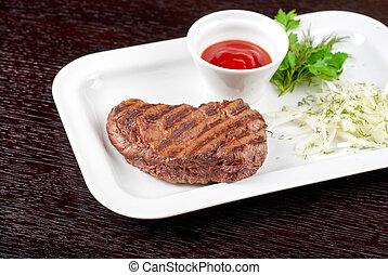 Juicy roasted beef steak