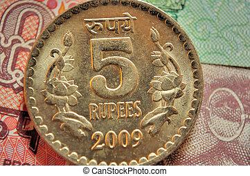 indiano, valuta, monete, denominazione, RS, 5