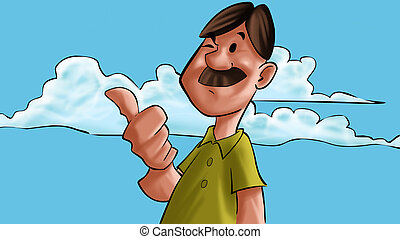 happy mustache man - man with a thumbs up blinking and happy