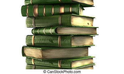 Green books stack isolated on white