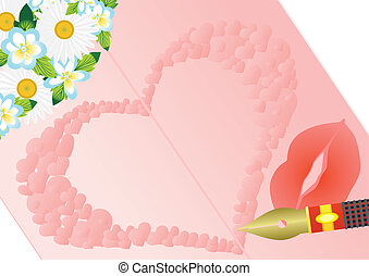 A love letter - Flowers and fountain pen on the background...