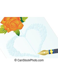 Love letter - Flowers and fountain pen on the background of...