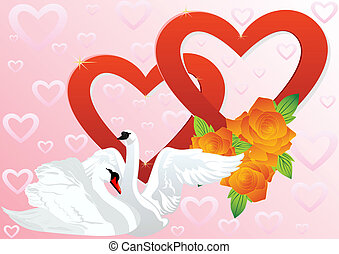 Two hearts and two swans - Two white swans on a background...