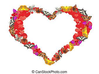 Coração, borboletas, meu