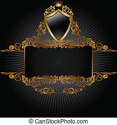 Black background with royal symbols - horizontal banner and...