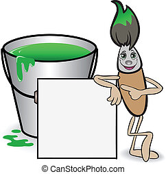 brush and a bucket of paint - cartoon brush with a big...