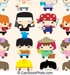 cartoon people seamless pattern