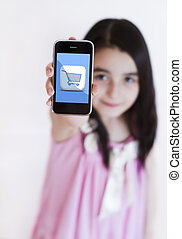 Little girl with modern touch blue screen phone