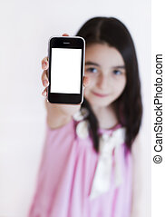 Little girl with modern touch white screen phone